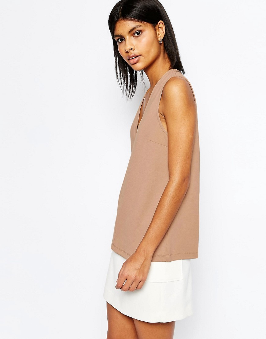 Sleeveless Top In Ponte Nude - neckline: low v-neck; pattern: plain; sleeve style: sleeveless; predominant colour: nude; occasions: casual; length: standard; style: top; fit: body skimming; sleeve length: sleeveless; pattern type: fabric; texture group: jersey - stretchy/drapey; fibres: viscose/rayon - mix; season: s/s 2016