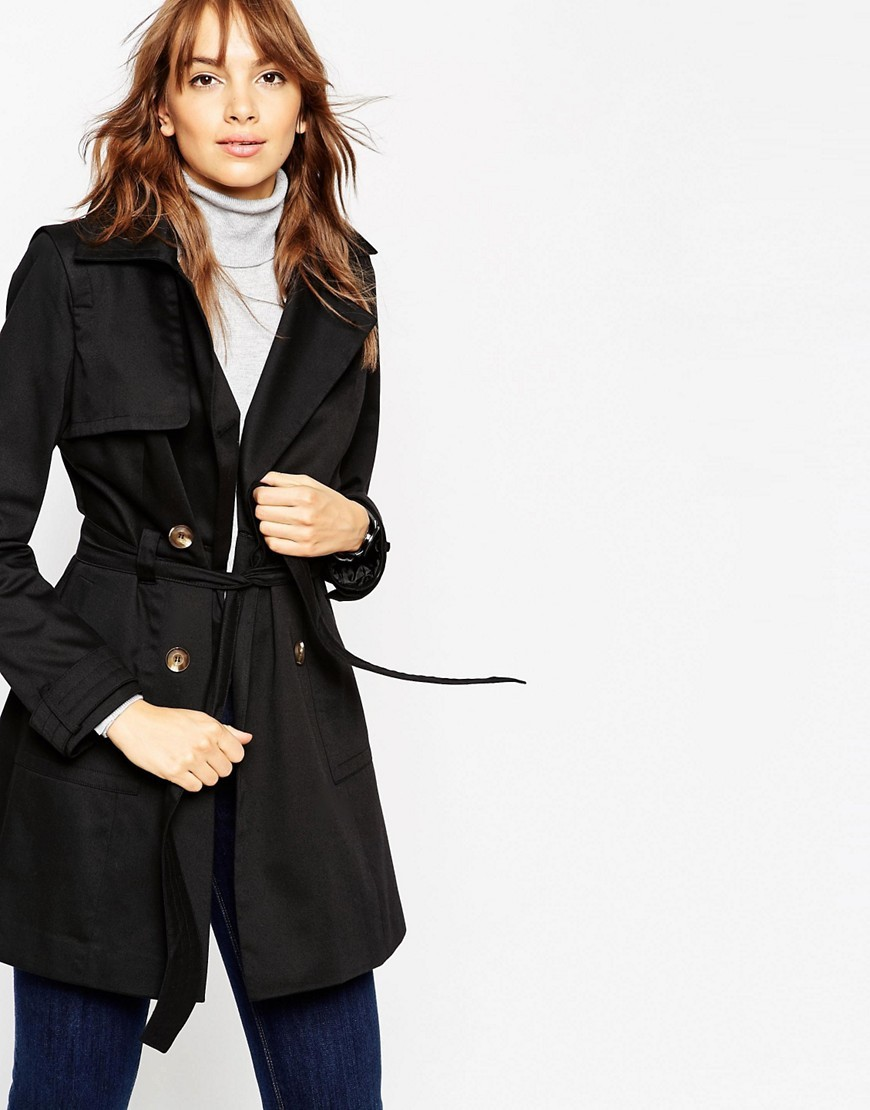Classic Trench Coat Black - pattern: plain; style: mac; collar: standard lapel/rever collar; length: mid thigh; predominant colour: black; occasions: casual; fit: tailored/fitted; fibres: polyester/polyamide - mix; waist detail: belted waist/tie at waist/drawstring; sleeve length: long sleeve; sleeve style: standard; texture group: cotton feel fabrics; collar break: medium; pattern type: fabric; season: s/s 2016; wardrobe: basic