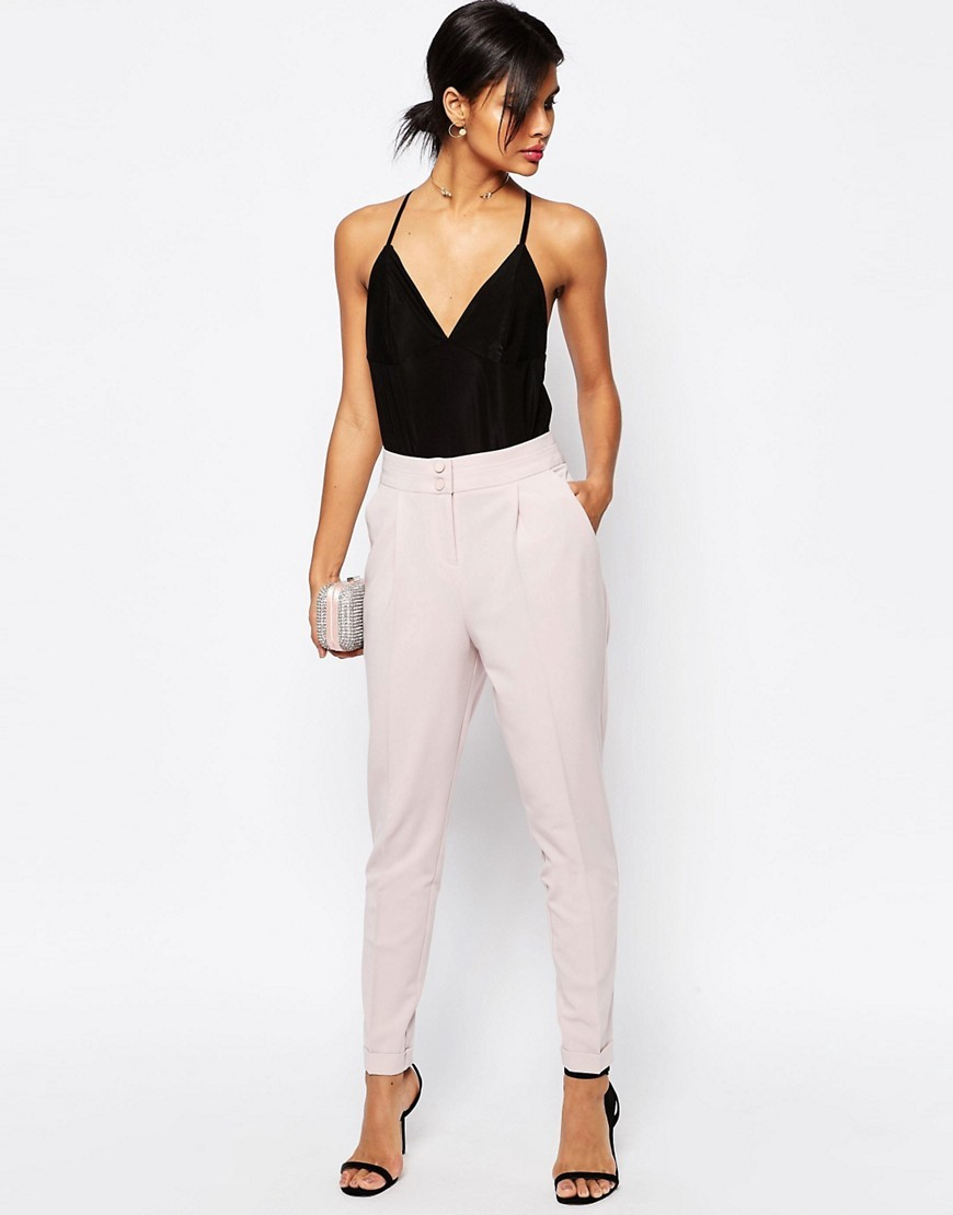 Tailored High Waisted Trousers With Turn Up Detail Mink - length: standard; pattern: plain; style: peg leg; waist: high rise; predominant colour: blush; occasions: evening, creative work; fibres: polyester/polyamide - 100%; texture group: crepes; fit: tapered; pattern type: fabric; season: s/s 2016; wardrobe: basic