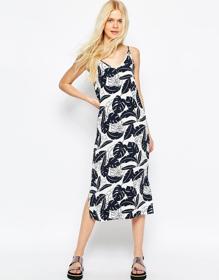 Midi Cami Dress In Mono Palm Print Multi - style: shift; length: calf length; neckline: v-neck; sleeve style: spaghetti straps; predominant colour: white; secondary colour: navy; occasions: evening; fit: body skimming; fibres: viscose/rayon - 100%; sleeve length: sleeveless; pattern type: fabric; pattern: florals; texture group: woven light midweight; multicoloured: multicoloured; season: s/s 2016; wardrobe: event
