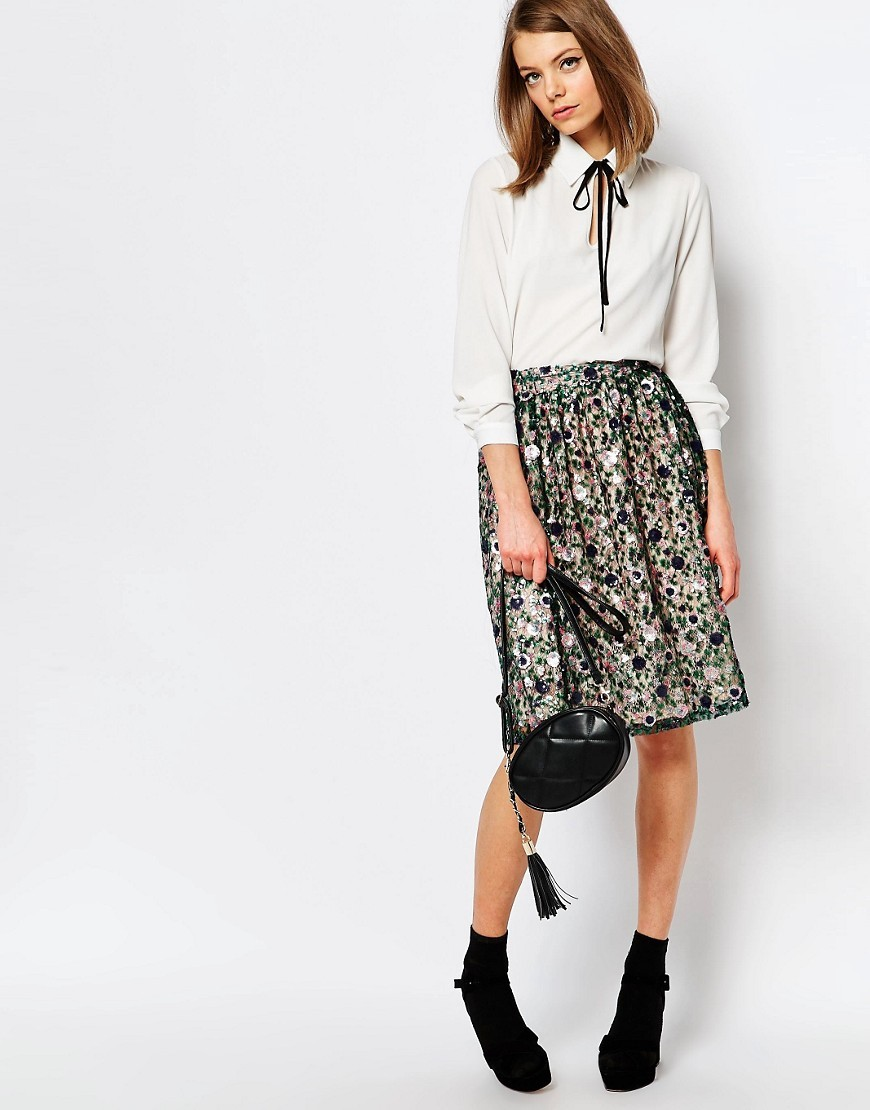 Sequin Embellished Midi Skirt Multi - fit: loose/voluminous; waist: high rise; secondary colour: white; predominant colour: mid grey; occasions: casual, creative work; length: just above the knee; style: a-line; fibres: polyester/polyamide - 100%; pattern type: fabric; pattern: patterned/print; texture group: woven light midweight; season: s/s 2016; wardrobe: highlight