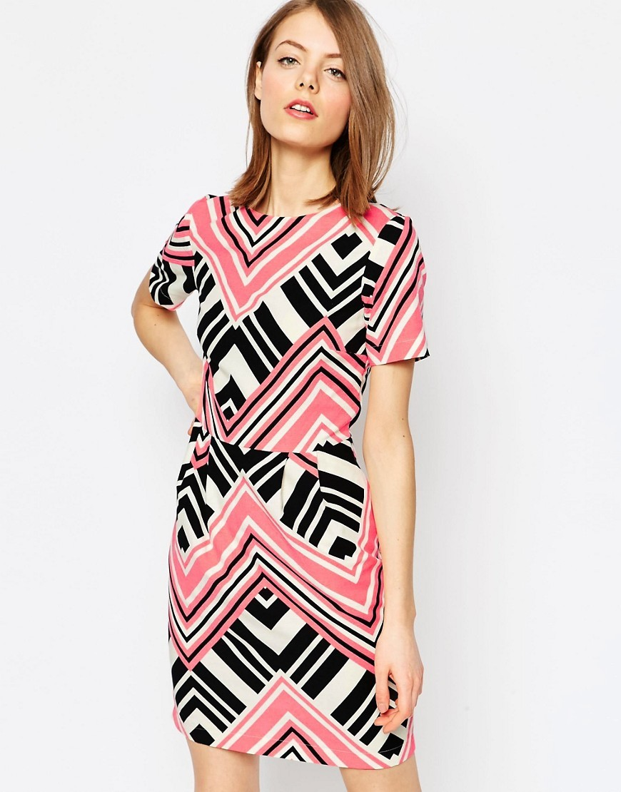 Graphic Print Mini Wiggle Dress Multi - style: shift; predominant colour: pink; secondary colour: black; length: just above the knee; fit: body skimming; occasions: occasion; neckline: crew; sleeve length: short sleeve; sleeve style: standard; pattern type: fabric; pattern size: standard; pattern: patterned/print; texture group: other - light to midweight; fibres: viscose/rayon - mix; season: s/s 2016; wardrobe: event