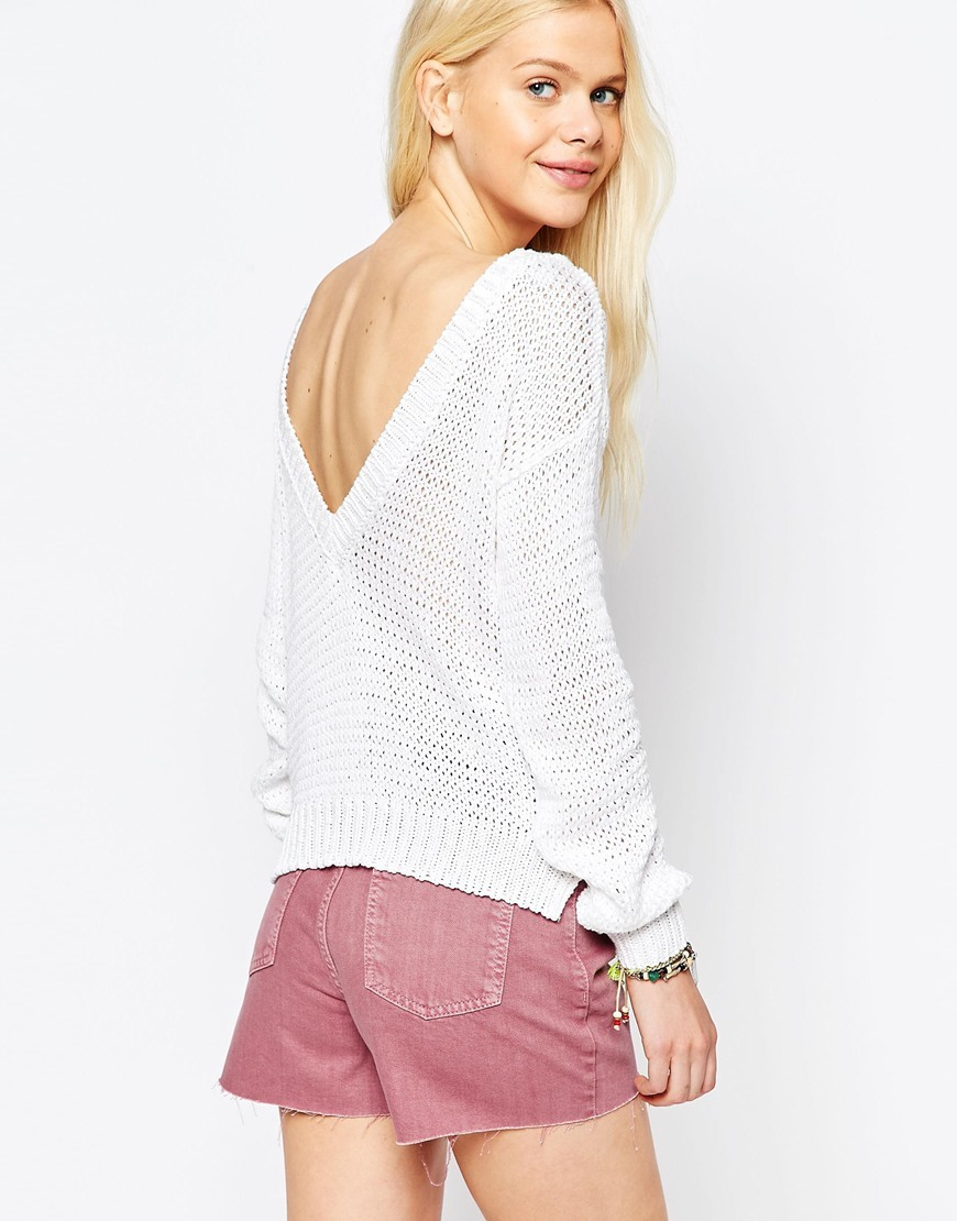 Chunky Jumper With V Back White - neckline: slash/boat neckline; pattern: plain; back detail: back revealing; style: standard; predominant colour: white; occasions: casual; length: standard; fibres: acrylic - 100%; fit: loose; sleeve length: long sleeve; sleeve style: standard; texture group: knits/crochet; pattern type: knitted - fine stitch; season: s/s 2016; wardrobe: highlight