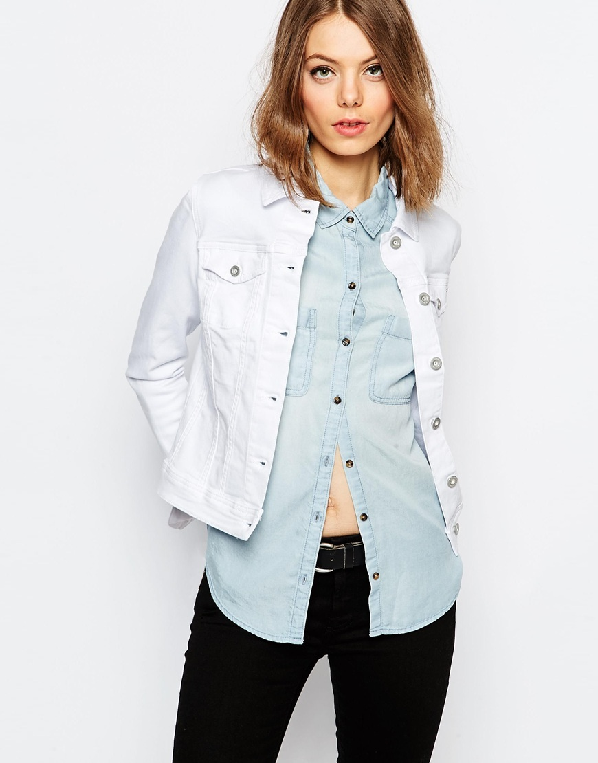 Fitted Denim Jacket White - pattern: plain; bust detail: added detail/embellishment at bust; style: denim; predominant colour: white; occasions: casual; length: standard; fit: straight cut (boxy); fibres: cotton - stretch; collar: shirt collar/peter pan/zip with opening; sleeve length: long sleeve; sleeve style: standard; texture group: denim; collar break: high/illusion of break when open; pattern type: fabric; season: s/s 2016; wardrobe: basic