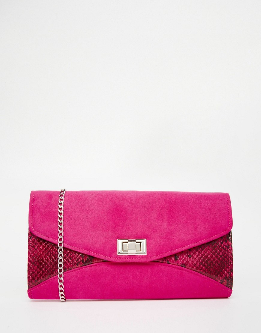 Snake Mix Envelope Clutch Bag Pink - predominant colour: hot pink; occasions: evening, occasion; type of pattern: standard; style: clutch; length: hand carry; size: standard; material: faux leather; pattern: animal print; finish: plain; embellishment: chain/metal; season: s/s 2016