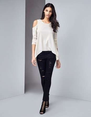 Ripped Super Skinny Jeans - style: skinny leg; length: standard; pattern: plain; pocket detail: traditional 5 pocket; waist: mid/regular rise; predominant colour: black; occasions: casual; fibres: cotton - stretch; texture group: denim; pattern type: fabric; jeans detail: rips; season: s/s 2016; wardrobe: basic
