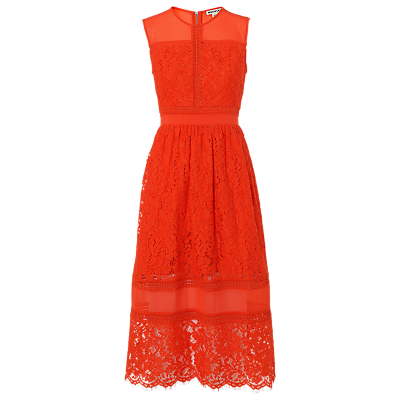 Amelia Lace Dress - length: calf length; sleeve style: sleeveless; predominant colour: bright orange; fit: fitted at waist & bust; style: fit & flare; fibres: cotton - mix; occasions: occasion; neckline: crew; sleeve length: sleeveless; texture group: lace; pattern type: fabric; pattern size: standard; pattern: patterned/print; embellishment: lace; season: s/s 2016; wardrobe: event; embellishment location: bust