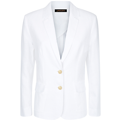 Garment Washed Blazer, White - pattern: plain; style: single breasted blazer; length: below the bottom; collar: standard lapel/rever collar; predominant colour: white; occasions: work, creative work; fit: tailored/fitted; fibres: linen - 100%; sleeve length: long sleeve; sleeve style: standard; texture group: linen; collar break: medium; pattern type: fabric; season: s/s 2016; wardrobe: investment