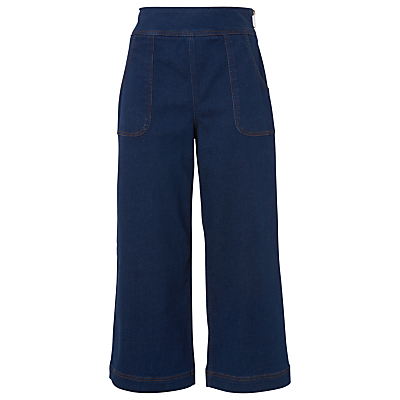 Cropped Pocket Wide Leg Trousers, Denim - pattern: plain; waist: high rise; predominant colour: navy; occasions: casual, creative work; length: ankle length; fibres: cotton - stretch; texture group: denim; fit: wide leg; pattern type: fabric; style: standard; season: s/s 2016; wardrobe: basic