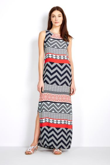 Printed Maxi Dress - neckline: round neck; sleeve style: sleeveless; style: maxi dress; length: ankle length; predominant colour: bright orange; secondary colour: black; occasions: casual, holiday; fit: body skimming; fibres: viscose/rayon - 100%; sleeve length: sleeveless; pattern type: fabric; pattern size: standard; pattern: patterned/print; texture group: jersey - stretchy/drapey; season: s/s 2016; wardrobe: highlight