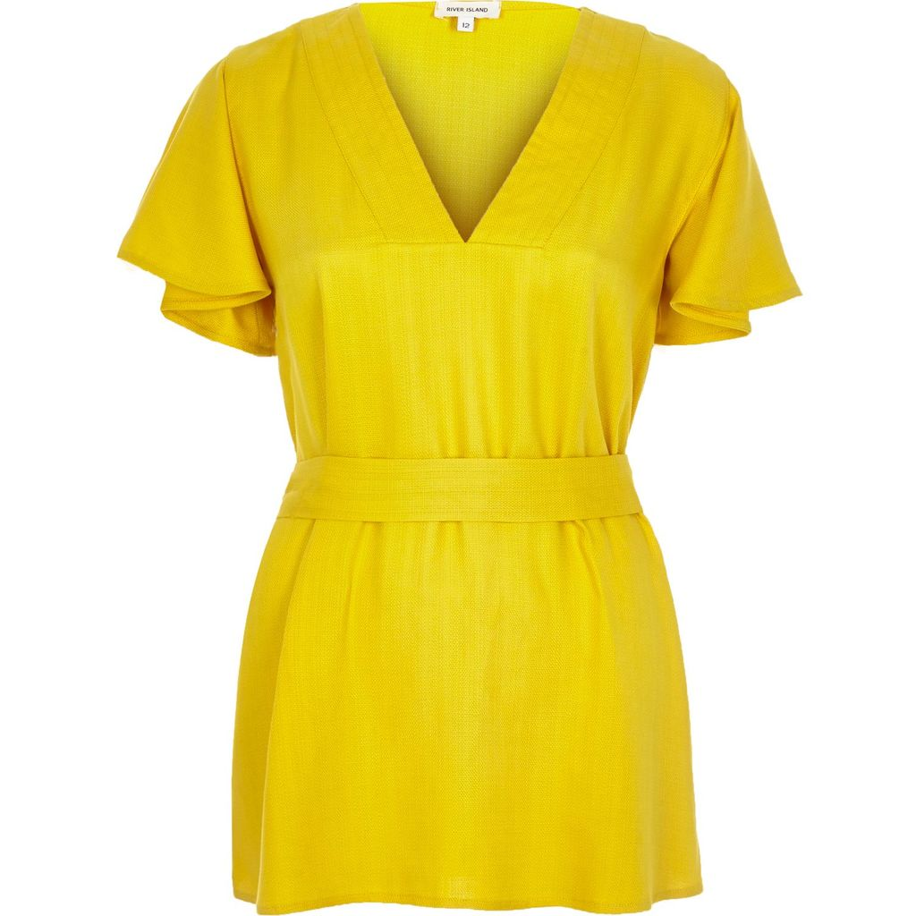 Womens Yellow Frill Sleeve Top - neckline: v-neck; pattern: plain; waist detail: belted waist/tie at waist/drawstring; predominant colour: yellow; occasions: casual; length: standard; style: top; fibres: linen - mix; fit: body skimming; sleeve length: short sleeve; sleeve style: standard; texture group: crepes; pattern type: fabric; season: s/s 2016; wardrobe: highlight