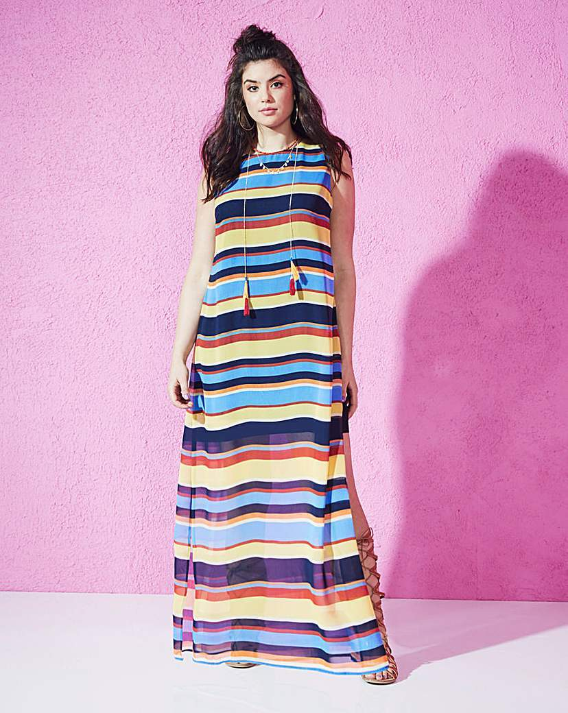 Stripe Side Split Maxi Dress - pattern: horizontal stripes; sleeve style: sleeveless; style: maxi dress; length: ankle length; predominant colour: diva blue; secondary colour: yellow; occasions: casual; fit: body skimming; fibres: polyester/polyamide - 100%; neckline: crew; sleeve length: sleeveless; pattern type: fabric; pattern size: standard; texture group: jersey - stretchy/drapey; multicoloured: multicoloured; season: s/s 2016; trends: graphic stripes; wardrobe: highlight