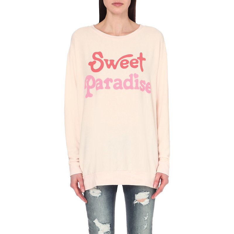 Sweet Paradise Jersey Sweatshirt, Women's, Size: Small, Chapstick - neckline: round neck; style: sweat top; predominant colour: blush; occasions: casual; fibres: polyester/polyamide - mix; fit: loose; length: mid thigh; sleeve length: long sleeve; sleeve style: standard; pattern type: fabric; pattern size: standard; texture group: jersey - stretchy/drapey; pattern: graphic/slogan; multicoloured: multicoloured; season: s/s 2016; wardrobe: highlight