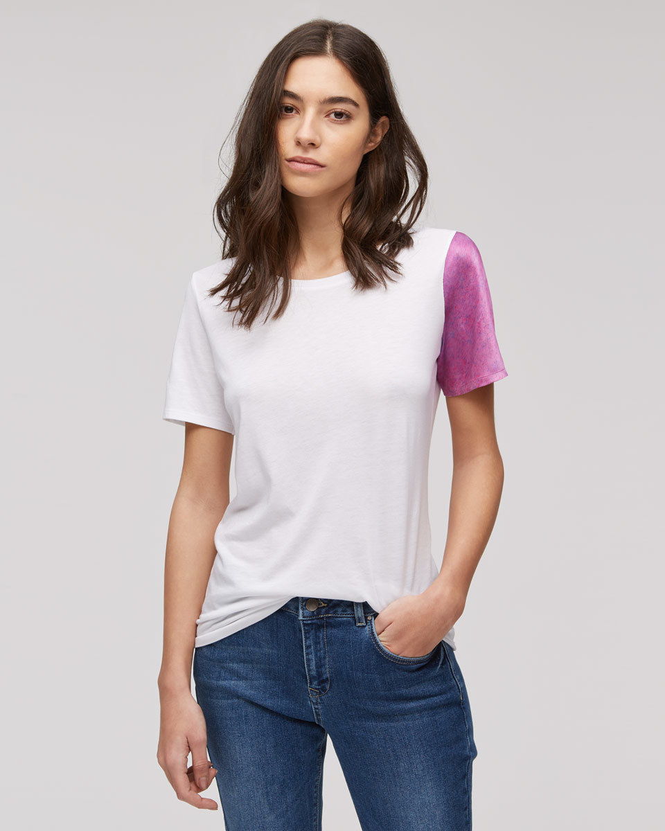 Audrey Rain Dyed Sleeve T Shirt - pattern: plain; style: t-shirt; predominant colour: white; secondary colour: purple; occasions: casual; length: standard; fibres: cotton - mix; fit: body skimming; neckline: crew; sleeve length: short sleeve; sleeve style: standard; pattern type: fabric; texture group: jersey - stretchy/drapey; multicoloured: multicoloured; season: s/s 2016; wardrobe: highlight
