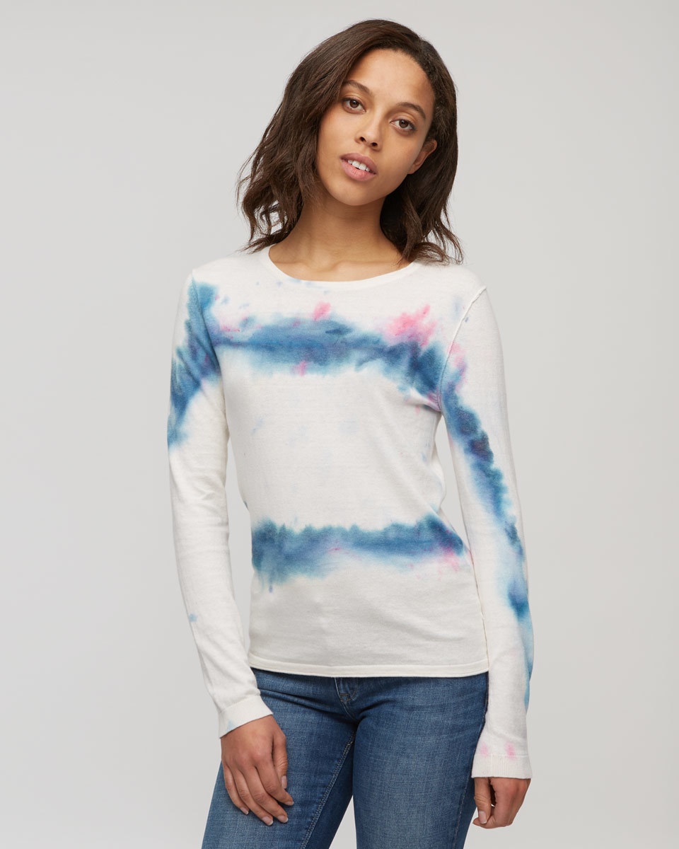 Audrey Cotton Cashmere Jumper - pattern: tie dye; predominant colour: white; secondary colour: royal blue; occasions: casual; length: standard; style: top; fibres: cotton - 100%; fit: body skimming; neckline: crew; sleeve length: long sleeve; sleeve style: standard; texture group: cotton feel fabrics; pattern type: fabric; multicoloured: multicoloured; season: s/s 2016; wardrobe: highlight