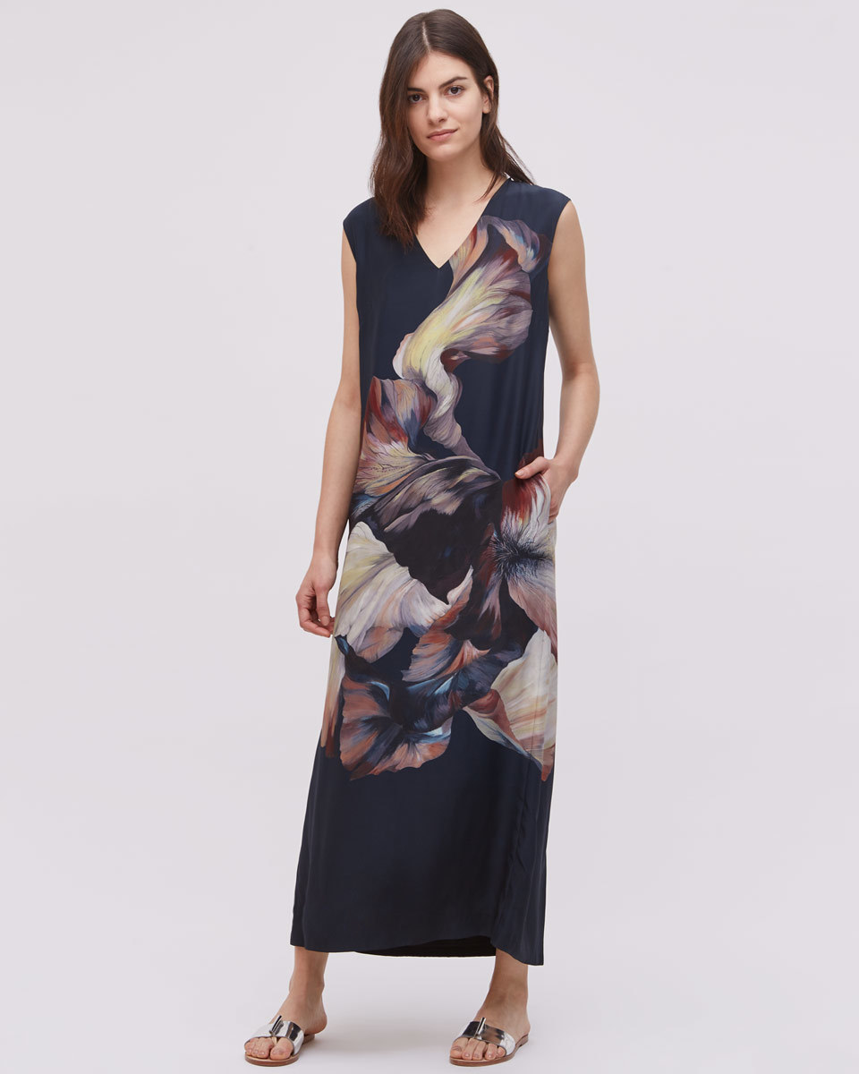 Magnified Flower Maxi Dress - neckline: v-neck; sleeve style: sleeveless; style: maxi dress; length: ankle length; predominant colour: navy; secondary colour: stone; occasions: evening; fit: body skimming; fibres: silk - 100%; sleeve length: sleeveless; pattern type: fabric; pattern: florals; texture group: jersey - stretchy/drapey; multicoloured: multicoloured; season: s/s 2016; wardrobe: event