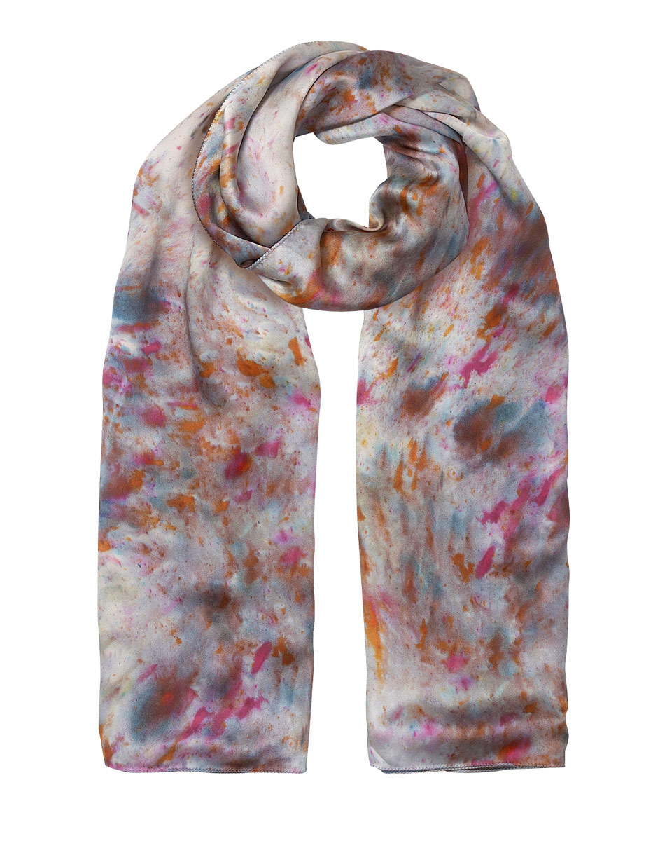 Audrey Digital Rain Print Scarf - predominant colour: pink; occasions: casual; type of pattern: heavy; style: regular; size: standard; material: silk; pattern: patterned/print; multicoloured: multicoloured; season: s/s 2016; wardrobe: highlight