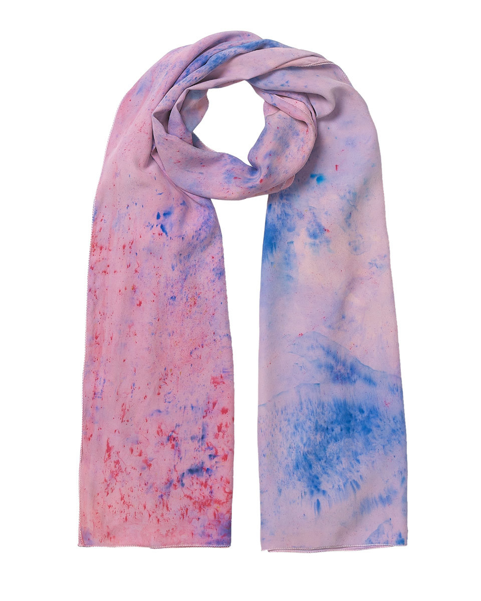 Audrey All Over Hand Painted Scarf - predominant colour: pink; secondary colour: diva blue; occasions: casual; type of pattern: standard; style: regular; size: standard; material: fabric; pattern: patterned/print; multicoloured: multicoloured; season: s/s 2016; wardrobe: highlight