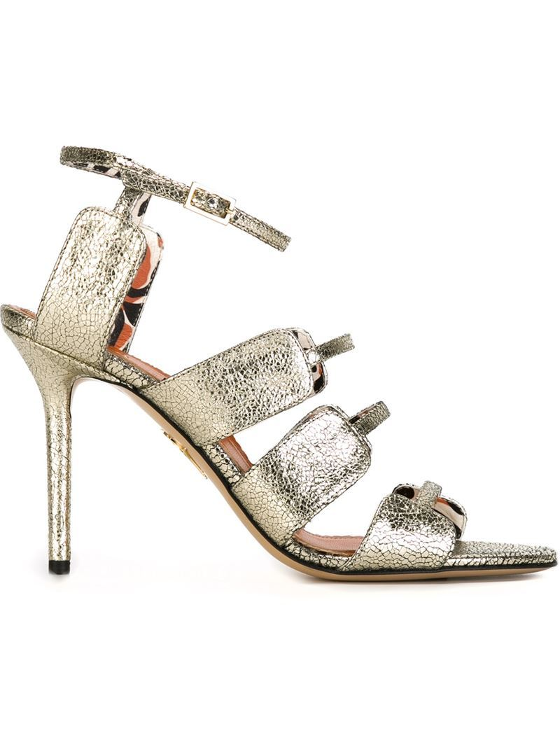 'meryl' Sandals, Women's, Grey - predominant colour: silver; occasions: evening, occasion; material: leather; ankle detail: ankle strap; heel: stiletto; toe: open toe/peeptoe; style: strappy; finish: metallic; pattern: plain; heel height: very high; season: s/s 2016; wardrobe: event