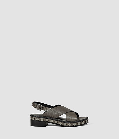 Ruse Sandal - occasions: casual, holiday; material: leather; heel height: mid; heel: block; toe: open toe/peeptoe; style: strappy; finish: plain; pattern: plain; shoe detail: platform; predominant colour: pewter; season: s/s 2016; wardrobe: highlight