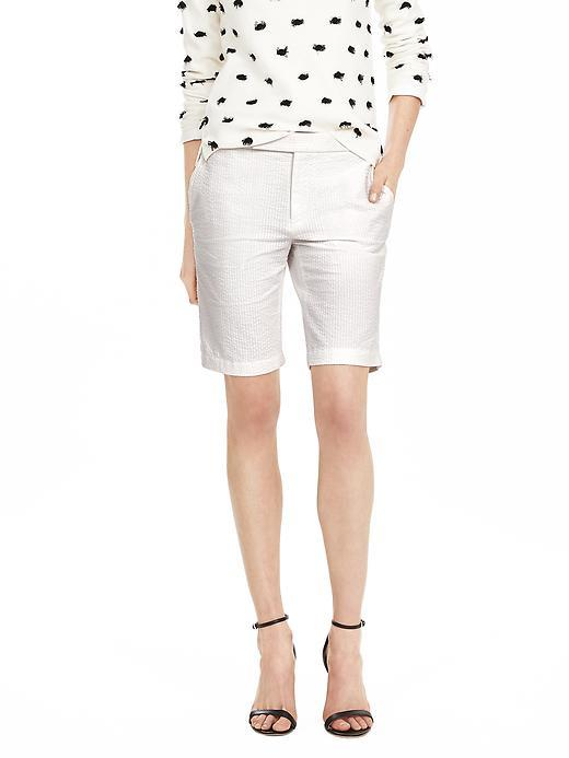 Seersucker Bermuda Short White - pattern: plain; waist: mid/regular rise; predominant colour: white; occasions: casual; fibres: cotton - stretch; texture group: cotton feel fabrics; pattern type: fabric; season: s/s 2016; wardrobe: basic; style: shorts; length: just above the knee; fit: slim leg