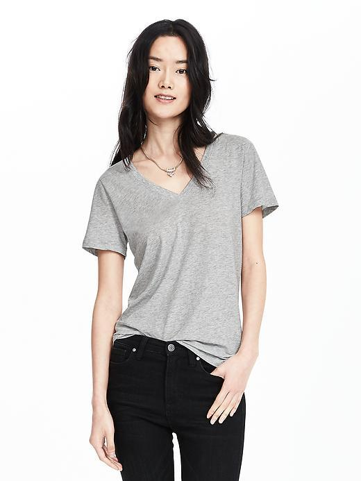 Essential Pima Cotton Vee Tee Heather Gray - neckline: v-neck; pattern: plain; style: t-shirt; predominant colour: mid grey; occasions: casual; length: standard; fibres: cotton - 100%; fit: body skimming; sleeve length: short sleeve; sleeve style: standard; pattern type: fabric; texture group: jersey - stretchy/drapey; season: s/s 2016; wardrobe: basic