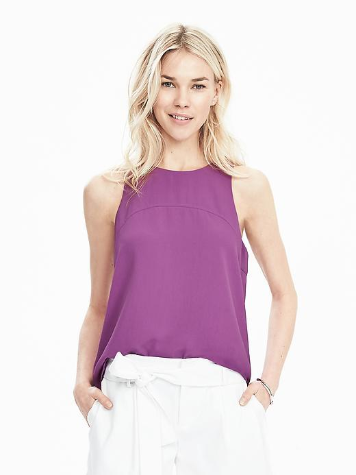 Sleeveless Keyhole Back Top Magenta - pattern: plain; sleeve style: sleeveless; predominant colour: purple; occasions: casual; length: standard; style: top; fibres: viscose/rayon - 100%; fit: body skimming; neckline: crew; sleeve length: sleeveless; pattern type: fabric; texture group: other - light to midweight; season: s/s 2016