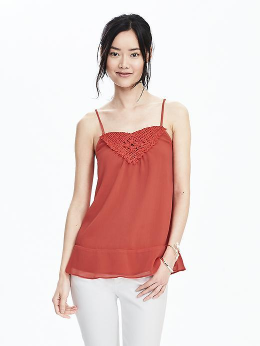 Embellished Cami Dark Coral - sleeve style: spaghetti straps; pattern: plain; bust detail: added detail/embellishment at bust; style: camisole; predominant colour: coral; occasions: casual, evening, holiday; length: standard; fibres: polyester/polyamide - 100%; fit: body skimming; sleeve length: sleeveless; neckline: low square neck; pattern type: fabric; texture group: jersey - stretchy/drapey; embellishment: embroidered; season: s/s 2016