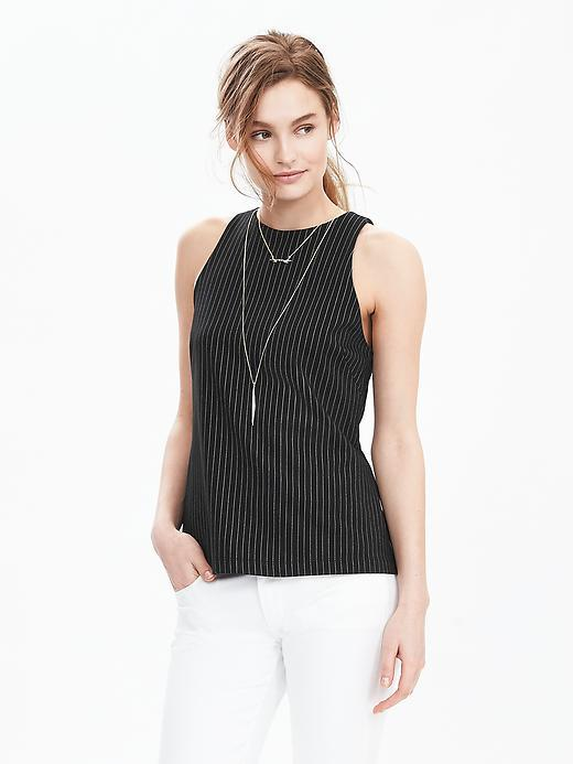 Ponte Pinstripe Tank Black - sleeve style: sleeveless; pattern: striped; predominant colour: black; occasions: casual, creative work; length: standard; style: top; fibres: nylon - mix; fit: body skimming; neckline: crew; sleeve length: sleeveless; pattern type: fabric; pattern size: standard; texture group: other - light to midweight; season: s/s 2016; wardrobe: highlight