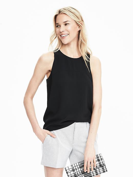 Sleeveless Keyhole Back Top Black - neckline: round neck; pattern: plain; sleeve style: sleeveless; predominant colour: black; occasions: casual, creative work; length: standard; style: top; fibres: polyester/polyamide - 100%; fit: body skimming; back detail: keyhole/peephole detail at back; sleeve length: sleeveless; pattern type: fabric; texture group: other - light to midweight; season: s/s 2016; wardrobe: basic