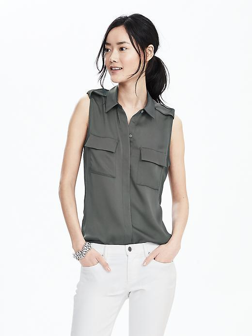 Sleeveless Pleated Shoulder Shirt Vintage Gray - neckline: shirt collar/peter pan/zip with opening; pattern: plain; sleeve style: sleeveless; style: shirt; predominant colour: khaki; occasions: casual; length: standard; fibres: polyester/polyamide - 100%; fit: body skimming; sleeve length: sleeveless; pattern type: fabric; texture group: other - light to midweight; season: s/s 2016