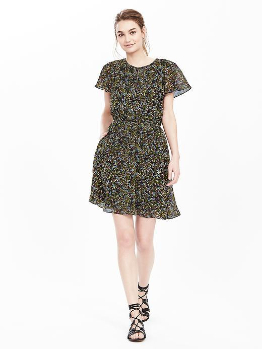 Floral Keyhole Dress Greenhouse Floral - length: mid thigh; secondary colour: khaki; predominant colour: black; occasions: evening; fit: fitted at waist & bust; style: fit & flare; fibres: polyester/polyamide - 100%; neckline: crew; sleeve length: short sleeve; sleeve style: standard; texture group: sheer fabrics/chiffon/organza etc.; pattern type: fabric; pattern: florals; multicoloured: multicoloured; season: s/s 2016; wardrobe: event