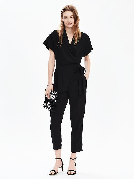 Tuxedo Ankle Leg Jumpsuit Black - neckline: v-neck; sleeve style: capped; fit: fitted at waist; pattern: plain; predominant colour: black; occasions: evening; length: ankle length; fibres: polyester/polyamide - 100%; sleeve length: short sleeve; style: jumpsuit; pattern type: fabric; texture group: woven light midweight; season: s/s 2016; wardrobe: event