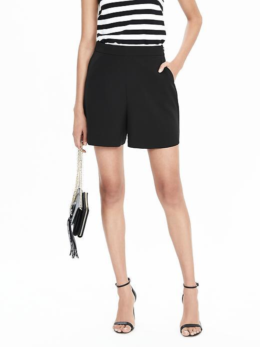 High Waist Drapey Short Black - pattern: plain; waist: high rise; predominant colour: black; occasions: casual, evening, creative work; fibres: polyester/polyamide - stretch; pattern type: fabric; texture group: other - light to midweight; season: s/s 2016; wardrobe: basic; style: tailored shorts; length: mid thigh shorts; fit: standard
