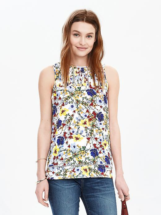 Smocked Floral Sleeveless Top Multi - sleeve style: sleeveless; predominant colour: ivory/cream; secondary colour: navy; occasions: casual, creative work; length: standard; style: top; fibres: polyester/polyamide - 100%; fit: body skimming; neckline: crew; sleeve length: sleeveless; pattern type: fabric; pattern size: standard; pattern: patterned/print; texture group: other - light to midweight; multicoloured: multicoloured; season: s/s 2016