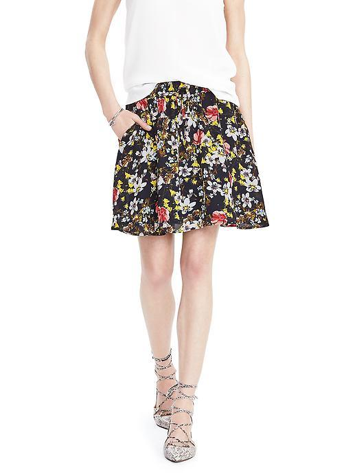 Floral Drawstring Skirt Preppy Navy - style: full/prom skirt; fit: loose/voluminous; waist: high rise; waist detail: belted waist/tie at waist/drawstring; secondary colour: white; predominant colour: navy; occasions: casual, creative work; length: just above the knee; fibres: polyester/polyamide - 100%; hip detail: subtle/flattering hip detail; pattern type: fabric; pattern: florals; texture group: other - light to midweight; pattern size: big & busy (bottom); multicoloured: multicoloured; season: s/s 2016; wardrobe: highlight