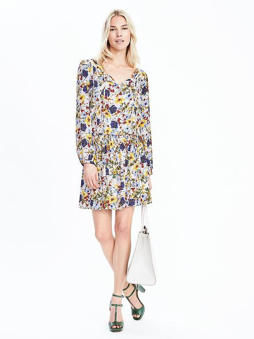 Floral Long Sleeve Dress White - style: shift; length: mid thigh; neckline: v-neck; predominant colour: white; secondary colour: royal blue; occasions: casual; fit: body skimming; fibres: polyester/polyamide - 100%; sleeve length: long sleeve; sleeve style: standard; pattern type: fabric; pattern: florals; texture group: other - light to midweight; multicoloured: multicoloured; season: s/s 2016; trends: vivid mix; wardrobe: highlight