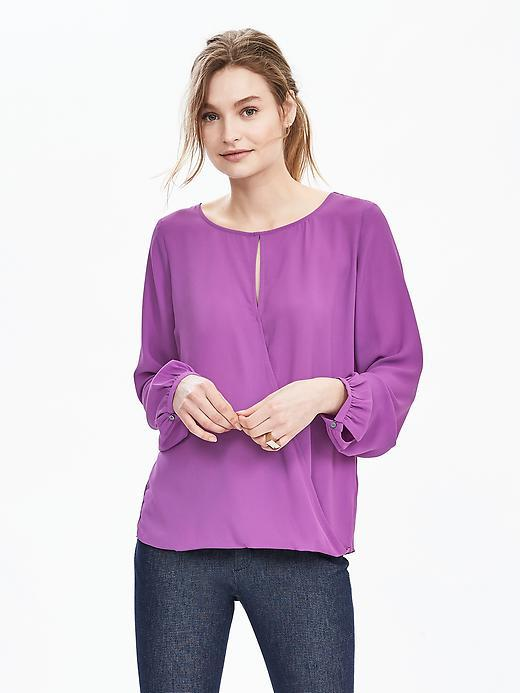 Wrap Front Crepe Blouse Magenta - sleeve style: bell sleeve; pattern: plain; style: blouse; predominant colour: purple; occasions: casual, creative work; length: standard; neckline: peep hole neckline; fibres: polyester/polyamide - 100%; fit: body skimming; sleeve length: long sleeve; texture group: crepes; pattern type: fabric; season: s/s 2016; wardrobe: highlight