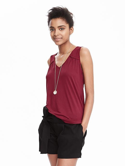 Sleeveless Scoop Top Chili Pepper Red - neckline: v-neck; sleeve style: standard vest straps/shoulder straps; pattern: plain; predominant colour: true red; occasions: casual, creative work; length: standard; style: top; fibres: viscose/rayon - 100%; fit: body skimming; sleeve length: sleeveless; pattern type: fabric; texture group: jersey - stretchy/drapey; season: s/s 2016; wardrobe: highlight