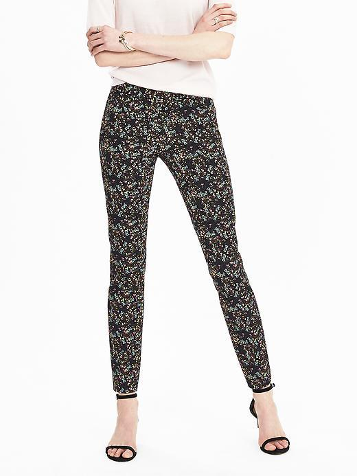 New Sloan Fit Ditsy Floral Slim Ankle Pant Mixed Floral - waist detail: elasticated waist; waist: mid/regular rise; secondary colour: white; predominant colour: black; occasions: casual, creative work; length: ankle length; fibres: viscose/rayon - stretch; fit: slim leg; pattern type: fabric; pattern: patterned/print; texture group: woven light midweight; style: standard; pattern size: standard (bottom); multicoloured: multicoloured; season: s/s 2016; wardrobe: highlight