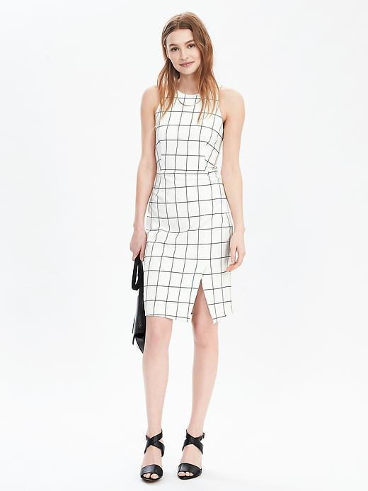 Windowpane Sleeveless Shift Dress Window Pane Print - style: shift; fit: tailored/fitted; sleeve style: sleeveless; pattern: checked/gingham; hip detail: draws attention to hips; predominant colour: white; secondary colour: mid grey; occasions: evening; length: just above the knee; fibres: polyester/polyamide - 100%; neckline: crew; sleeve length: sleeveless; pattern type: fabric; texture group: other - light to midweight; multicoloured: multicoloured; season: s/s 2016; wardrobe: event