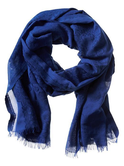 Jacquard Cotton Scarf Regatta Blue - predominant colour: navy; occasions: casual; type of pattern: standard; style: regular; size: standard; material: fabric; pattern: plain; season: s/s 2016; wardrobe: basic