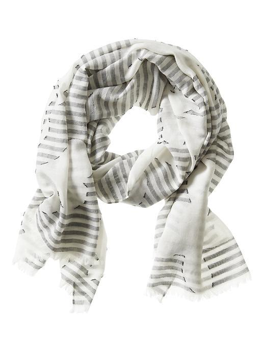 Stripe Jacquard Scarf Cocoon - predominant colour: ivory/cream; occasions: casual; type of pattern: heavy; style: regular; size: standard; material: fabric; pattern: horizontal stripes; season: s/s 2016; wardrobe: highlight