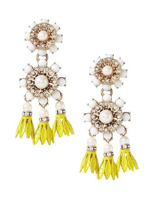 Floral Bell Chandelier Earring Brass - predominant colour: yellow; occasions: evening, occasion; style: chandelier; length: long; size: large/oversized; material: chain/metal; fastening: pierced; finish: plain; embellishment: jewels/stone; season: s/s 2016; wardrobe: event