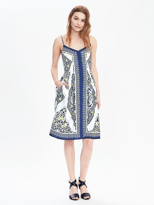 Strappy Scarf Print Dress Boho Baby Floral Cool - neckline: low v-neck; sleeve style: spaghetti straps; predominant colour: white; secondary colour: royal blue; occasions: evening; length: on the knee; fit: body skimming; style: slip dress; fibres: polyester/polyamide - 100%; sleeve length: sleeveless; pattern type: fabric; pattern: florals; texture group: other - light to midweight; multicoloured: multicoloured; season: s/s 2016; trends: vivid mix; wardrobe: event