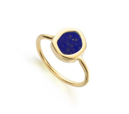 Gold Vermeil Atlantis Gem Mini Stacking Ring Lapis - predominant colour: royal blue; secondary colour: gold; occasions: evening, creative work; style: band; size: small/fine; material: chain/metal; finish: metallic; embellishment: jewels/stone; season: s/s 2016; wardrobe: highlight