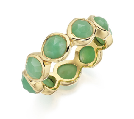 Gold Vermeil Siren Eternity Ring Large Chrysoprase - predominant colour: emerald green; secondary colour: gold; occasions: evening, occasion; style: band; size: large/oversized; material: chain/metal; finish: metallic; embellishment: jewels/stone; season: s/s 2016
