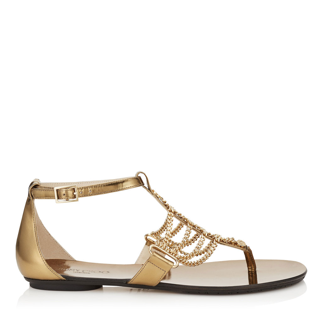 Wallace Flat Light Honey Mirror Leather And Chain Sandals - predominant colour: gold; occasions: casual, holiday; material: leather; heel height: flat; ankle detail: ankle strap; heel: block; toe: toe thongs; style: strappy; finish: metallic; pattern: plain; embellishment: chain/metal; season: s/s 2016