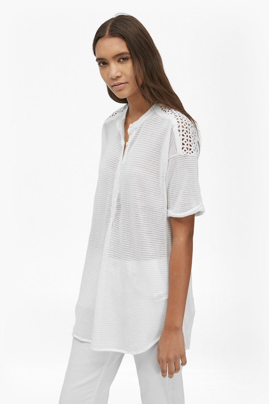 Celia Knitted Mix Longline T Shirt Summer White - pattern: plain; length: below the bottom; style: t-shirt; predominant colour: white; occasions: casual; neckline: collarstand & mandarin with v-neck; fibres: cotton - 100%; fit: loose; sleeve length: short sleeve; sleeve style: standard; texture group: cotton feel fabrics; pattern type: fabric; season: s/s 2016