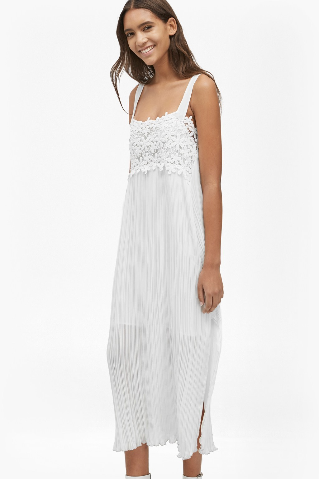 Posy Lace Strappy Maxi Dress Summer White - sleeve style: sleeveless; style: maxi dress; length: ankle length; predominant colour: ivory/cream; occasions: casual; fit: body skimming; fibres: polyester/polyamide - 100%; sleeve length: sleeveless; texture group: lace; neckline: medium square neck; pattern type: fabric; pattern size: standard; pattern: patterned/print; embellishment: lace; season: s/s 2016; wardrobe: highlight; embellishment location: bust